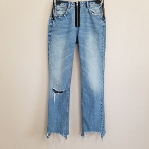 Zara Jeans Frayed Notched Hem Jeans 00